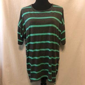LuLaRoe Grey / Green Striped Irma Tunic - Size L
